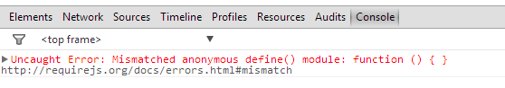 Uncaught error: Mismatched anonymous define()