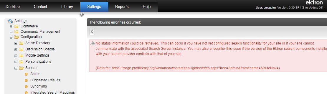 Solr node status error on 9 3 SP1: